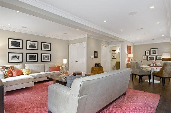 wohnzimmer und spielplatz im keller gestalten rosa teppich fotogalerie