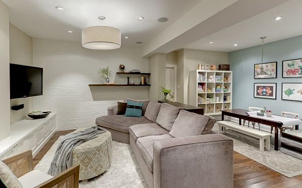 wohnzimmer oder spielplatz im keller gestalten sofa samt