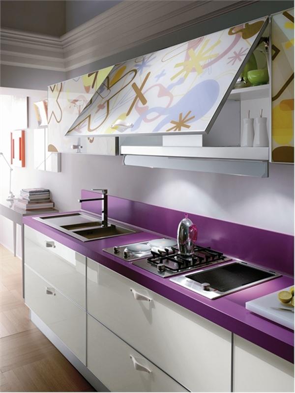 wunderbare moderne küchenmöbel aus glas arbeitsplatte lila spüle