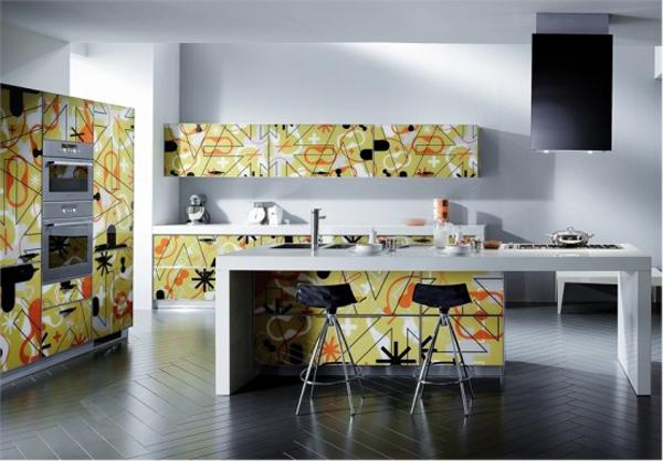 wunderbare moderne küchen möbel aus glas orange grüne gelb