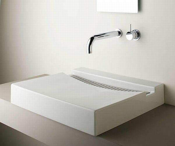 zen bad waschbecken design quadratisch minimalistisch