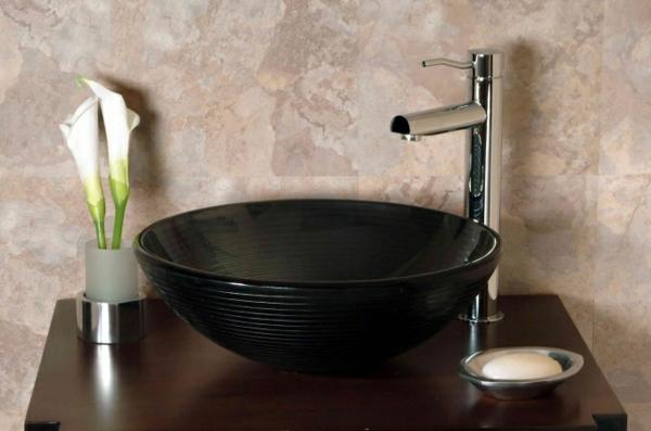 zen badezimmer waschbecken design schüssel schwarz