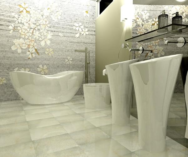 zen badezimmer waschbecken design weiß sockel glänzend