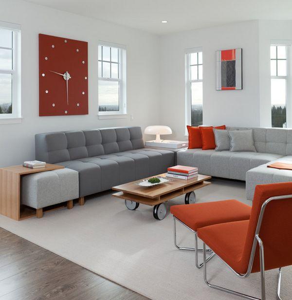 Attraktive Wanduhr Designs grau sofas rot liege