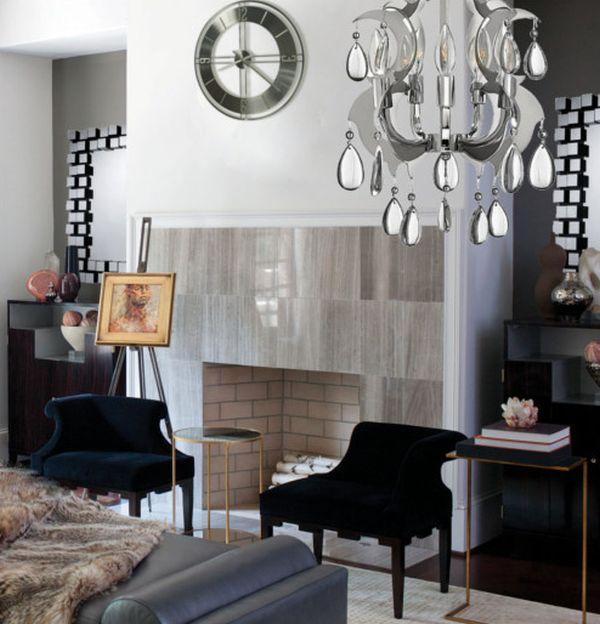Attraktive Wanduhr Designs klassisch groß treppenhaus einbaukamin ziegel