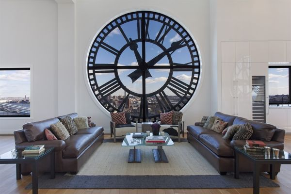 uhren wohnzimmer design:Clock Tower Penthouse Brooklyn