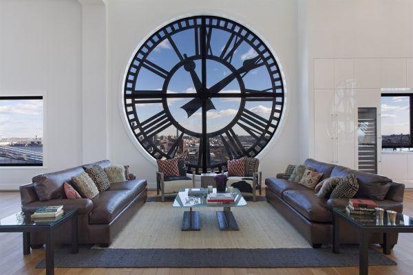 Attraktive Wanduhr Designs klassisch groß wohnzimmer leder sofas