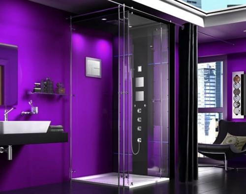 Bilder von innovativen Dampfduschen badezimmer lila ambiente