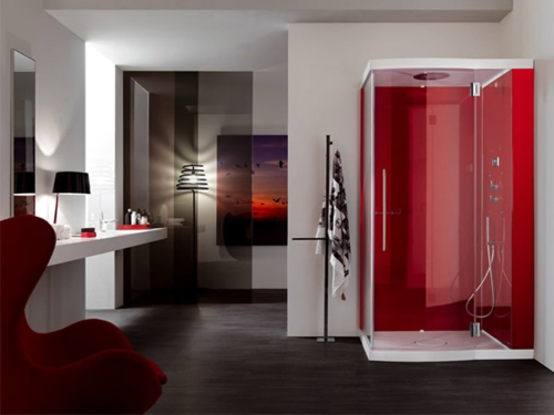 Bilder von innovativen Dampfduschen badezimmer rot akzente