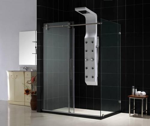 innovative Dampfduschen whirlpool badezimmer schwarze fliesen