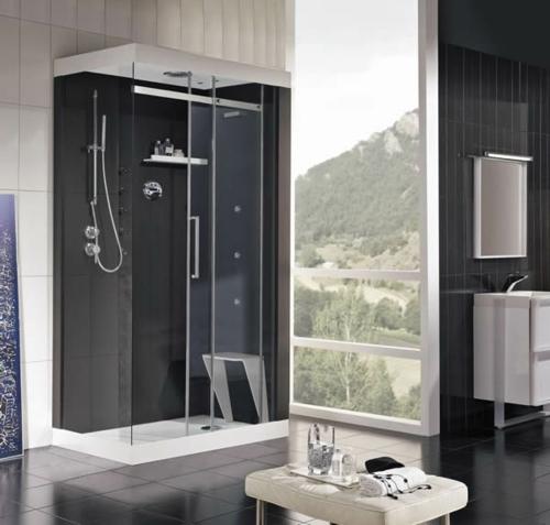 Bilder von innovativen Dampfduschen badezimmer schwarze wände