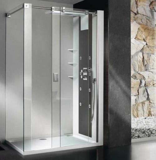 innovative Dampfduschen whirlpool badezimmer steinwände