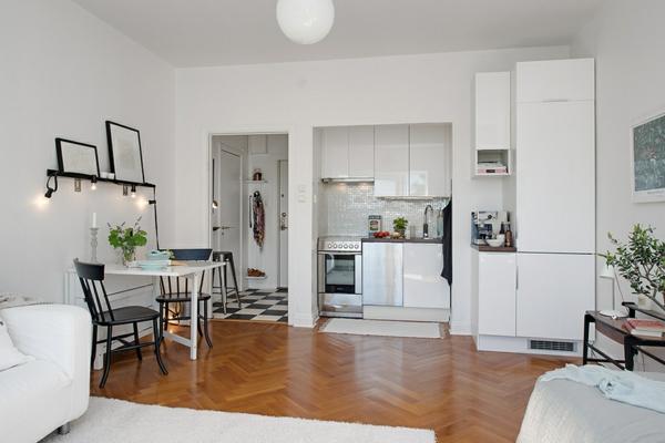 Einzimmerwohnung in Schweden teppich schrank küche