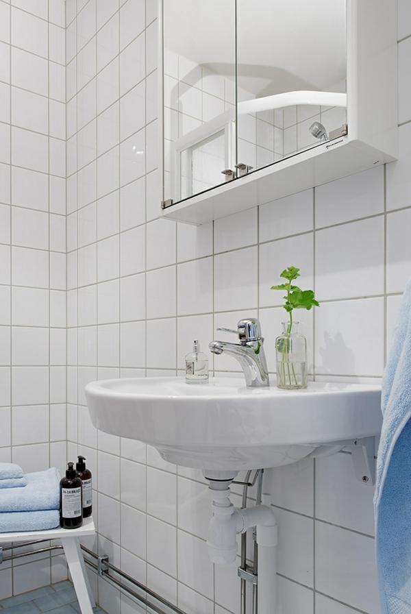 Charmante Einzimmerwohnung in Schweden weiß bad