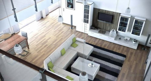 Das Wohnzimmer attraktiv einrichten kissen grün sofa rücklehne