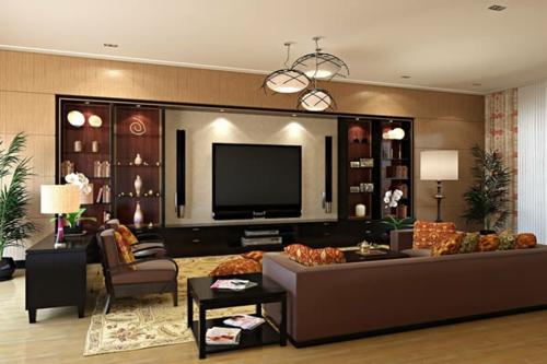 Das Wohnzimmer Attraktiv Einrichten Regale Gardinen