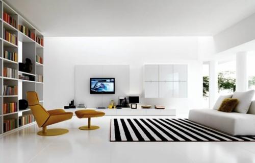 Das Wohnzimmer attraktiv einrichten schwarz weiß streifen