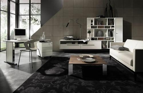 Das Wohnzimmer Attraktiv Einrichte Teppich Schwarz Tisch Kommode