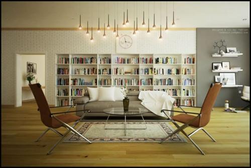 Das Wohnzimmer attraktiv einrichten ziegelwand weiß bücherregale