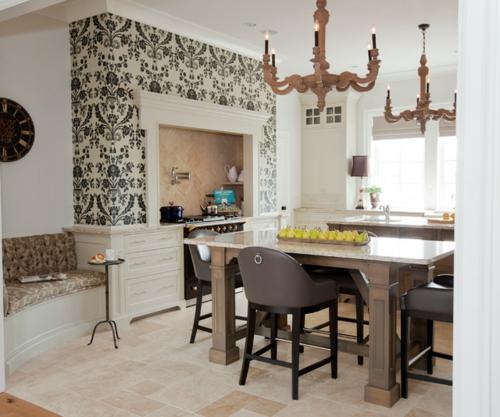 Französisches Küchen Design im Landhausstil eingerichtet tapeten