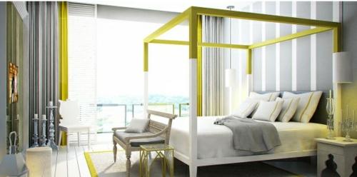 Himmelbetten im Schlafzimmer gestell gelb farbe