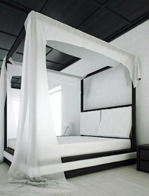 Himmelbetten aus Holz im Schlafzimmer schwarz weiß