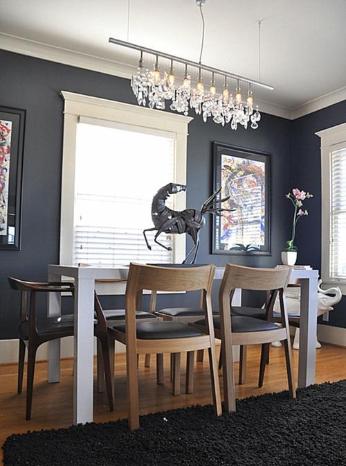 Interior Design Ideen in Craftsman Stil esszimmer teppich schwarz