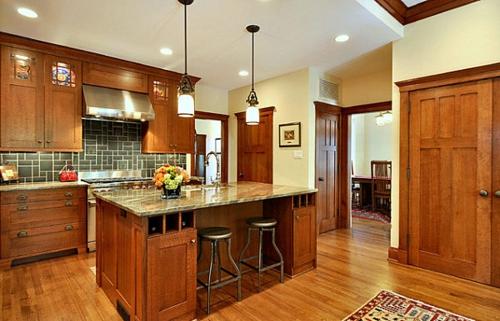 Interior Design Ideen in Craftsman Stil küche insel holz einrichtung