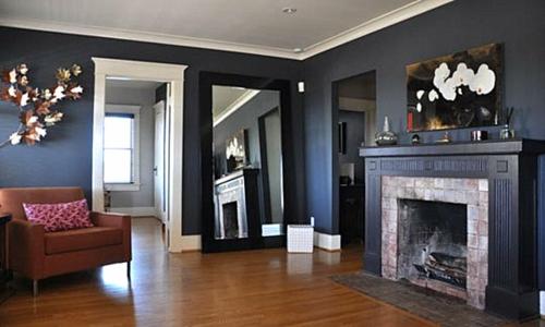 Interior Design Ideen in Craftsman Stil schwarz wohnzimmer einbaukamin