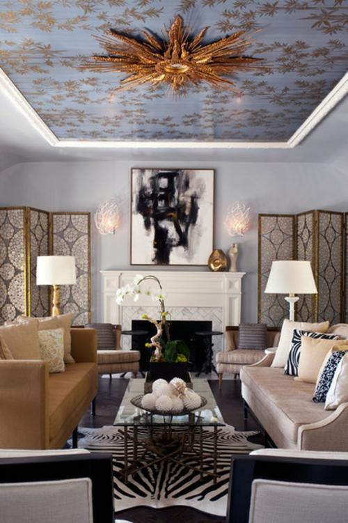 Interior Designs mit cooler Dekoration paravent sichtschutz aufteiler einbaukamin