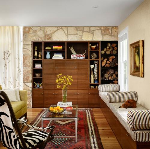 Interior Designs mit cooler Dekoration regale schrank holz steinwand