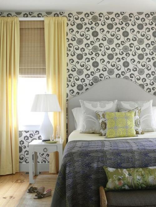 Interior Designs mit cooler Dekoration schlafzimmer gelb gardinen tapeten