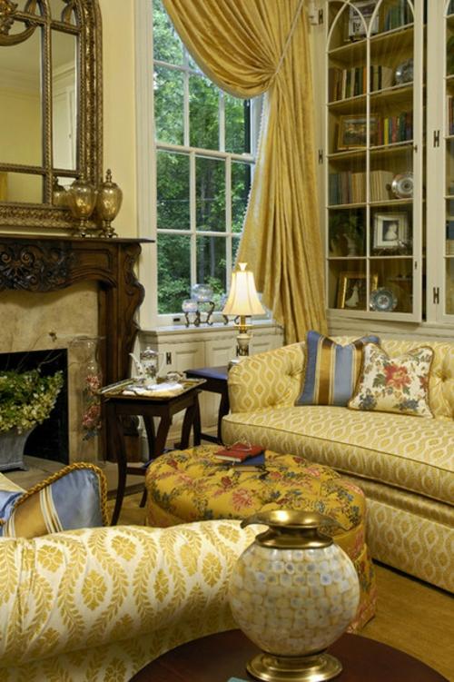 Interior Designs mit cooler Dekoration sofa gelb gardinen regale