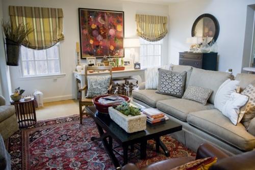 Interior-Designs-mit-cooler-Dekoration-teppich-gemustert-traditionell