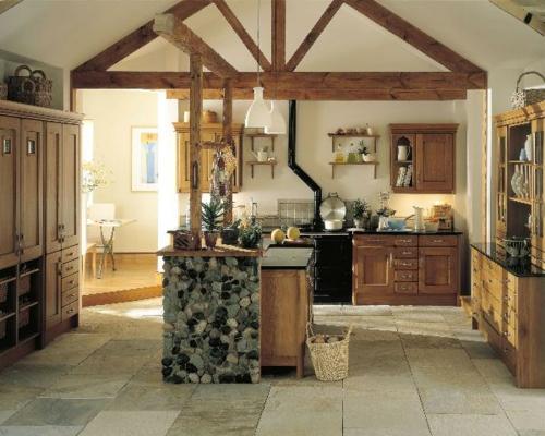 Küchen Designs klassisch einrichtung balken holz pflanzen