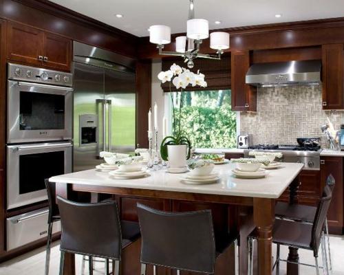 Küchen Designs klassisch einrichtung barhocker lehne leder