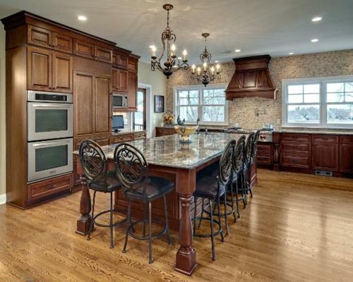 Küchen  klassisch einrichtung ziegelwand marmor oberflächen
