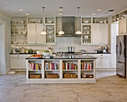 Küchen Designs klassisch weiß rustikal idee bücherregale ofen