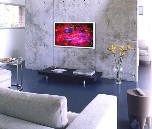Kunstwerke für die Wohnung gemälde kühne farben beton wand