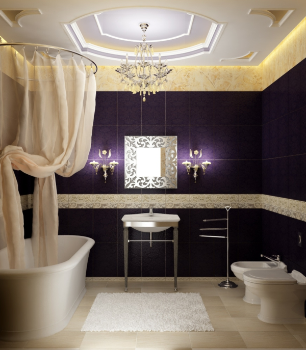moderne badezimmer ideen luxus komfort badewanne dunkellila fliesen - Modernes Luxus Badezimmer