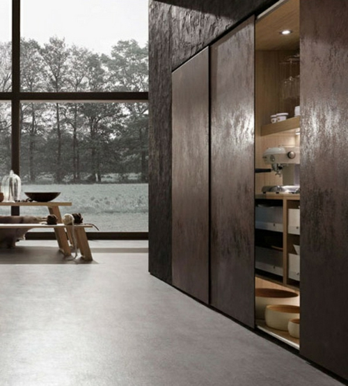 Raue ausgefallene Küchen Designs eingebaute küchenschränke