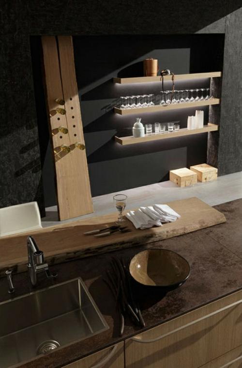 Raue ausgefallene Küchen Designs spüle regale wand geschirr