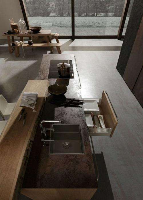 Raue ausgefallene Küchen Designs spüle schubladen