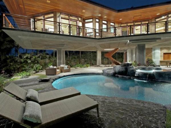 Residenz auf Hawaii mit einem sehr kreativen Design außenbereich fassade