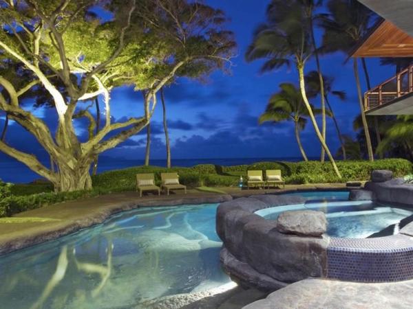 Immobilie auf Hawaii mit einem sehr kreativen Design liegen stein deko