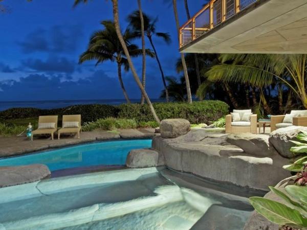Residenz auf Hawaii mit einem sehr kreativen Design wasseranlage dekorativ
