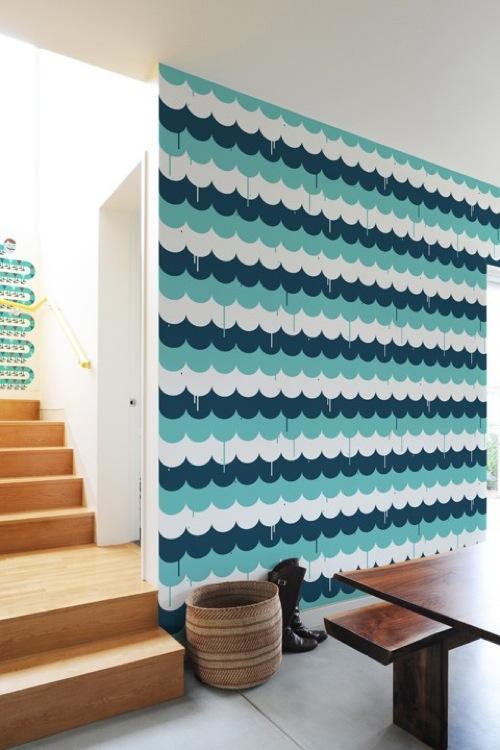Wanddekoration mit wundervolle  modernen Aufklebern türkis farben formen