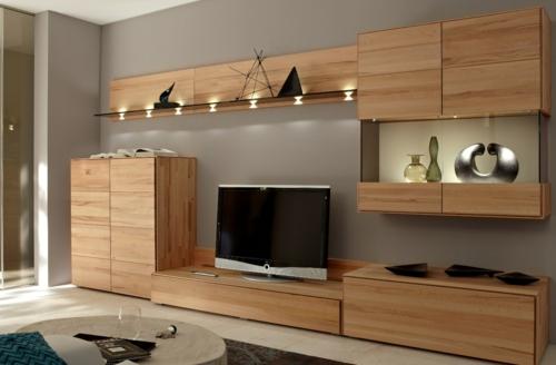 Wandregale aus Holz schubladen raum sparen wohnzimmer beleuchtung