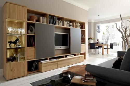 Wandregale aus Holz schubladen raum sparen wohnzimmer hell