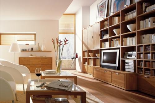 Wandregale aus Holz schubladen raum sparen wohnzimmer modern